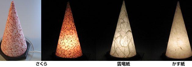 円錐形和紙の灯り